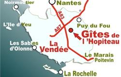 Carte de la Vendée et des gîtes